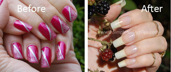 Nails before and after using Pure™ Cuticle and Nail Oil